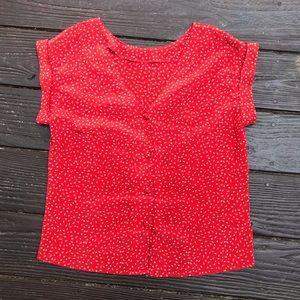Vintage red paisley print shortsleeved blouse